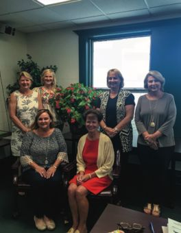 Current officers of Magnolia Garden Club, standing from left to right, are Treasurer Patty Griffey, Co-Presidents Amanda Morrell and Dollie Morrell, and Co-Vice President Donna Edwards. Sitting from left are Co-Vice President Lori Ann Corbett and Secretary Lynn Liebenrood.
