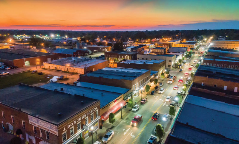 Aerial view of downtown Benson at night.