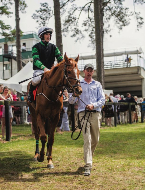 Jockey on horse at Carolina cup.