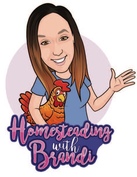 "Brandi Faulk bitmoji, holding a chicken ""Homesteading with Brandi"""