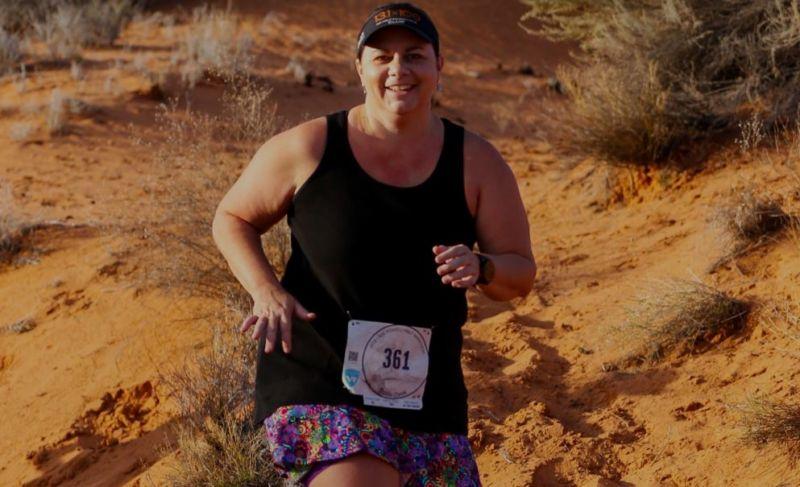 Woman running in the desert